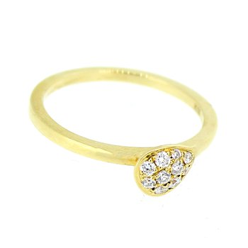 Pave Pear Stackable Diamond Ring