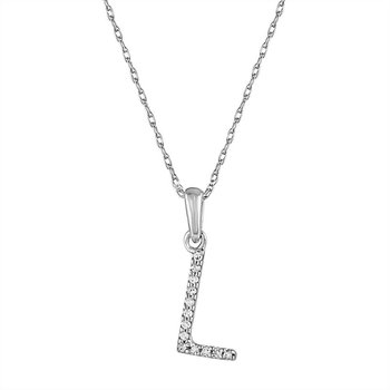 "Initial ""L"" Diamond Necklace"