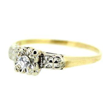 Vintage Two Tone Diamond Ring