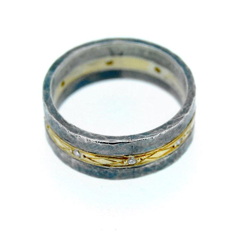 Kurtulan Sterling & 24k Gold Ring with Diamonds