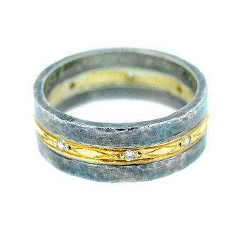 Sterling & 24k Gold Ring with Diamonds