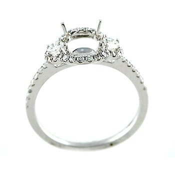 Halo Three Stone Diamond Ring Mounting