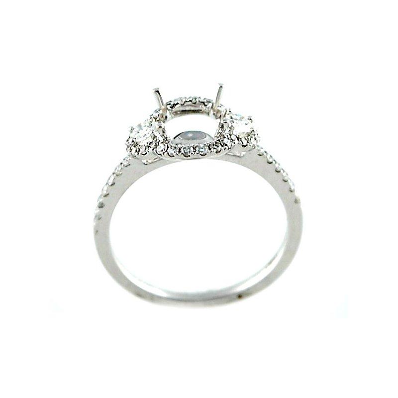 Decor Halo Three Stone Diamond Ring Mounting