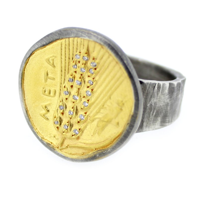 Kurtulan Diamond Coin Ring in Sterling and 24k Gold
