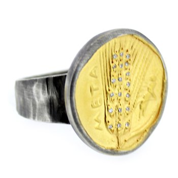 Diamond Coin Ring in Sterling and 24k Gold
