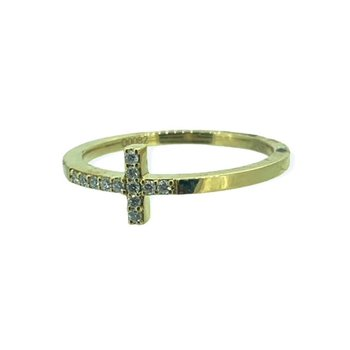 Sideways Diamond Cross Ring