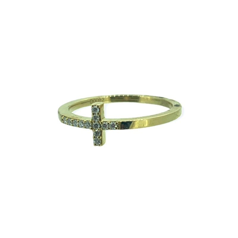Decor Sideways Diamond Cross Ring