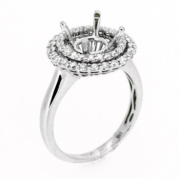 Double Diamond Halo Engagement Ring Mounting