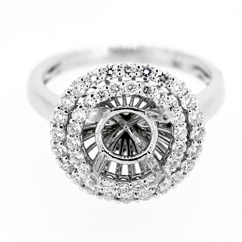 Decor Double Diamond Halo Engagement Ring Mounting