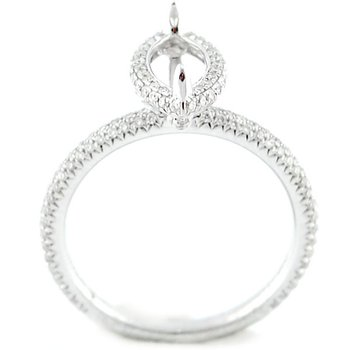Petite Pave Halo Diamond Ring Mounting