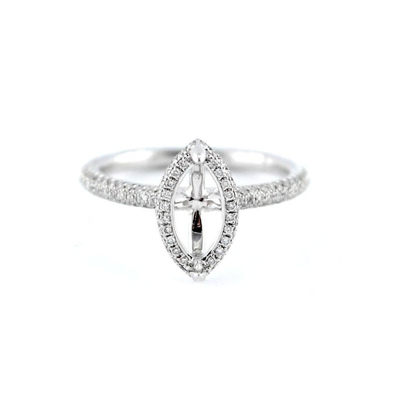 Decor Petite Pave Halo Diamond Ring Mounting