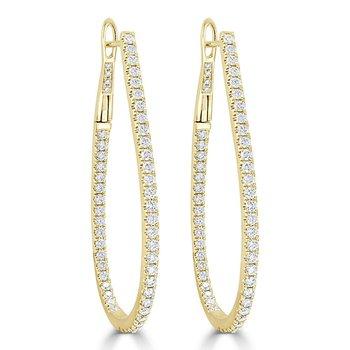 1.52ctw Elongated Diamond Hoop Earrings