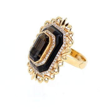 Smokey Topaz & Diamond Accent Ring