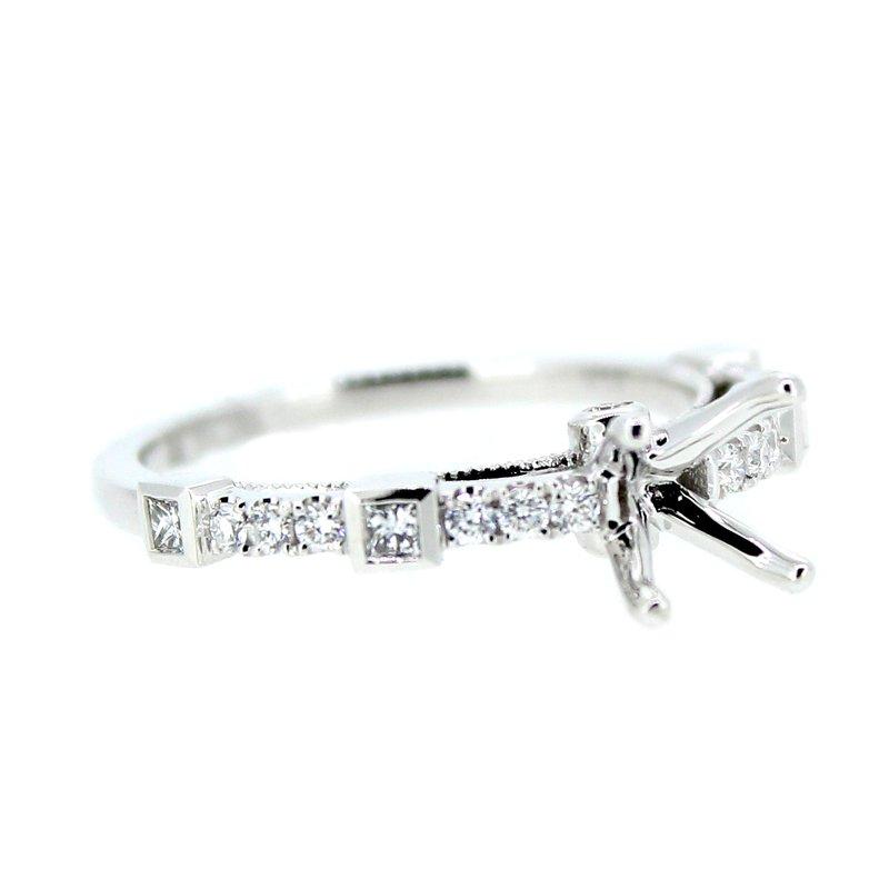 Decor Princess & Round Diamond Ring Mounting