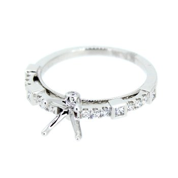 Princess & Round Diamond Ring Mounting