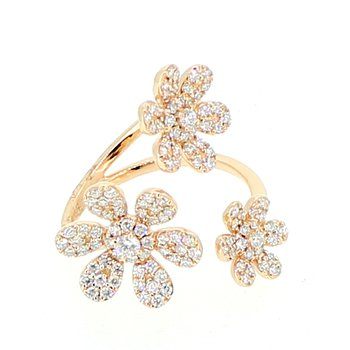 Pave Flower Diamond Ring