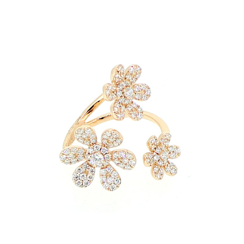 Decor Pave Flower Diamond Ring