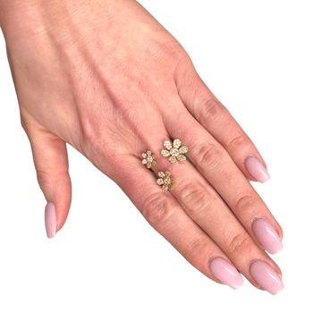 Pave Flower Diamond Ring