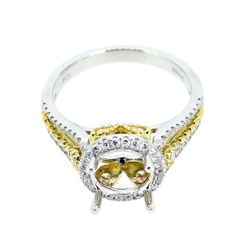 Round Two Tone Diamond Halo Ring Mounting
