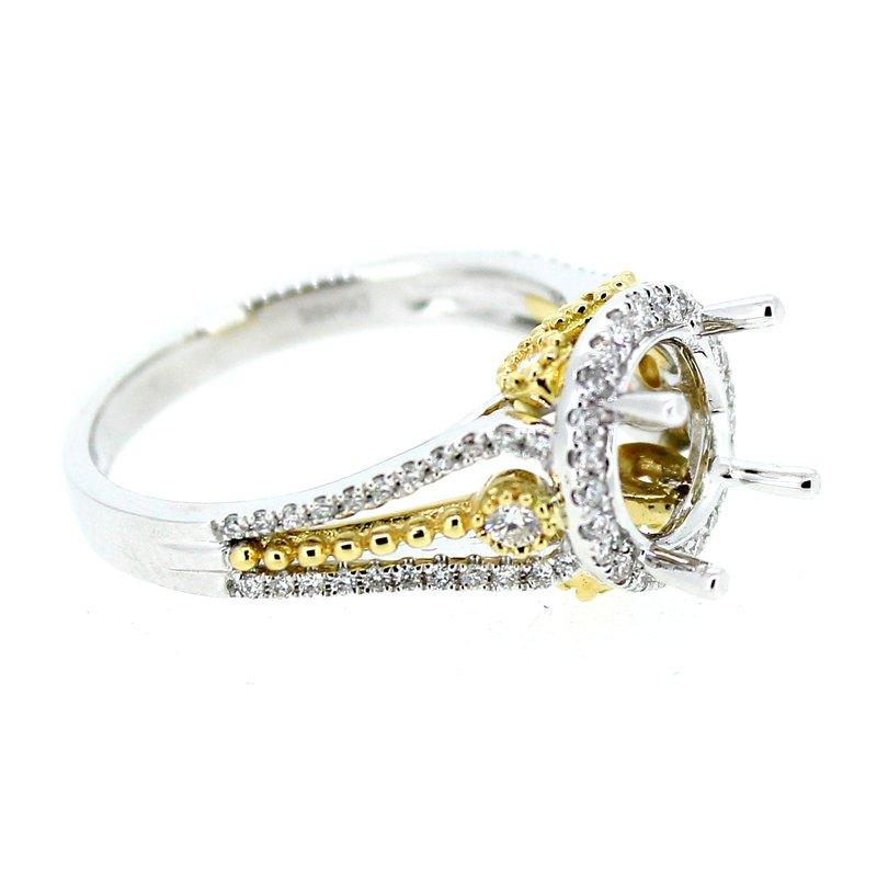 Decor Round Two Tone Diamond Halo Ring Mounting