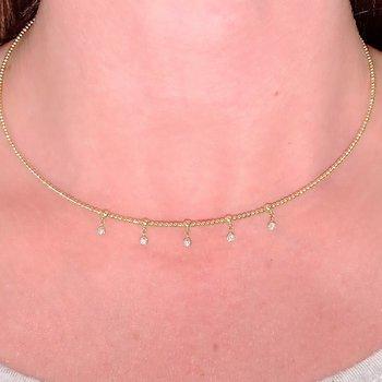 Diamond Drop Collar Necklace