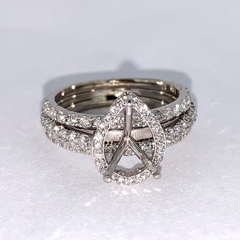 Triple Band Pear Shaped Diamond Ring Mounting