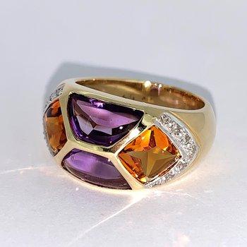 Amethyst & Citrine Inlaid Ring