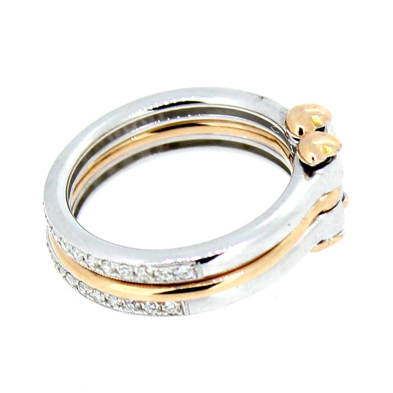 Decor Three Connected Bands in Rose & White Gold