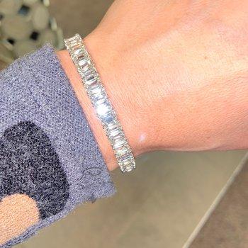 25ctw Emerald Cut Diamond Tennis Bracelet