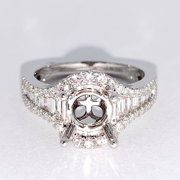 Baguette Diamond Halo Engagement Ring Mounting