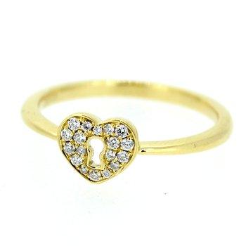 Pave Heart Keyhole Diamond Ring