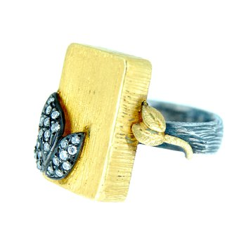 24kt Gold Overlay & Sterling Silver Diamond Ring