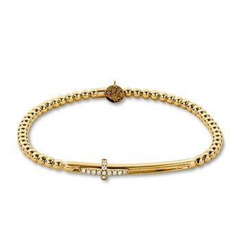 Yellow Gold Diamond Sideways Cross Beaded Slider Bracelet