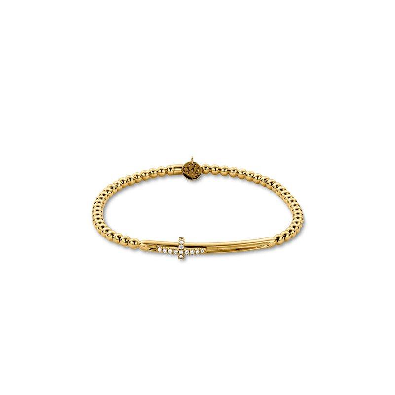 Hulchi Belluni Yellow Gold Diamond Sideways Cross Beaded Slider Bracelet