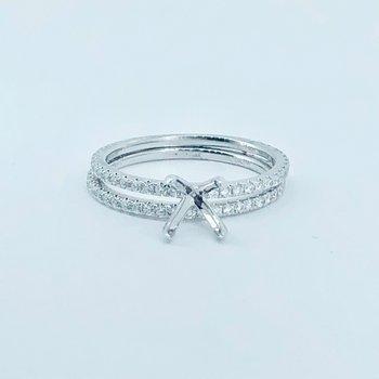 Dainty Diamond Engagement Ring Setting & Band