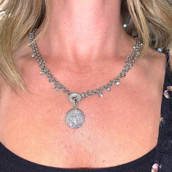 Pave Diamond Ball Necklace
