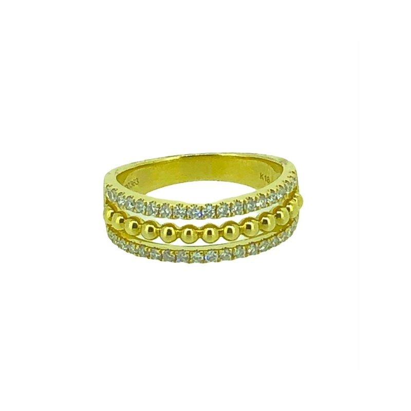 Decor 3 Row Diamond Fashion Ring
