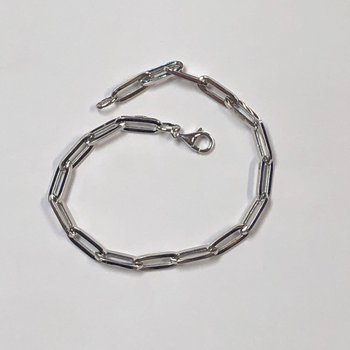 White Gold Paperclip Bracelet