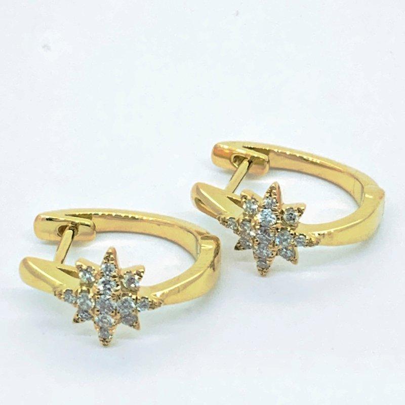 Decor Diamond Starburst Hoop Earrings