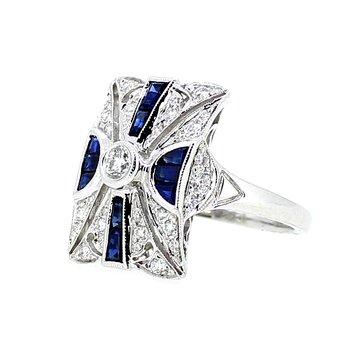 Antique Style Diamond & Sapphire Ring