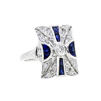 Antique Style Diamond & Sapphire Ring