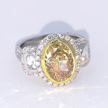 Fancy Yellow Oval Diamond Halo Ring