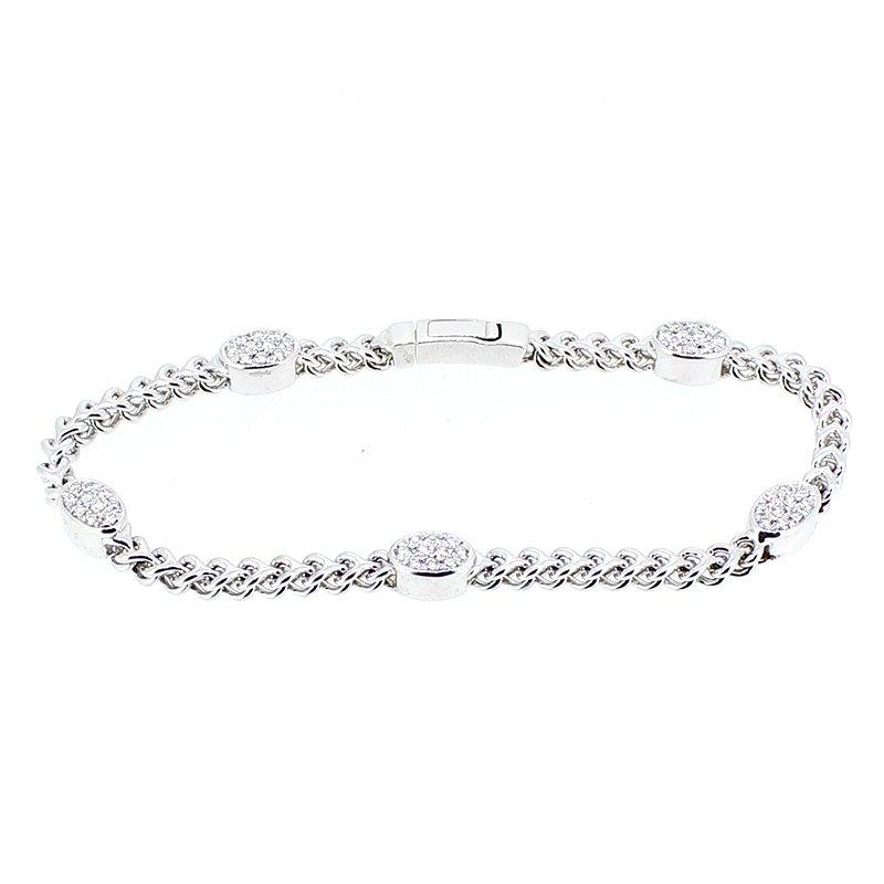 DA Gold Oval Pave Link Diamond Bracelet