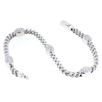 Oval Pave Link Diamond Bracelet