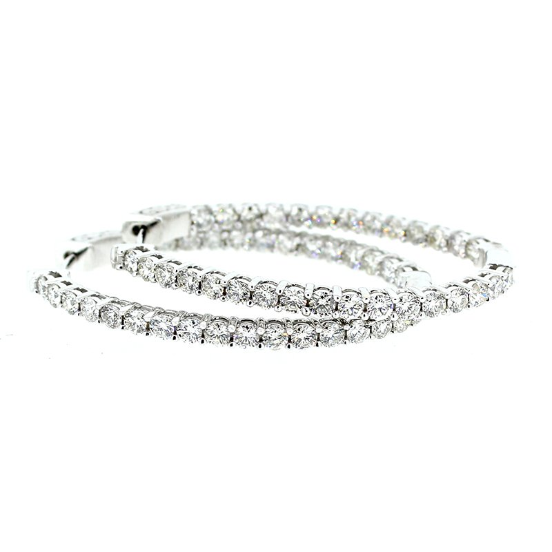 Decor 4.00ctw Diamond Oval Hoop Earrings
