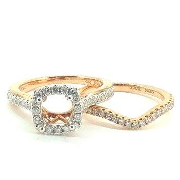 Rose Gold Diamond Engagement Ring & Band