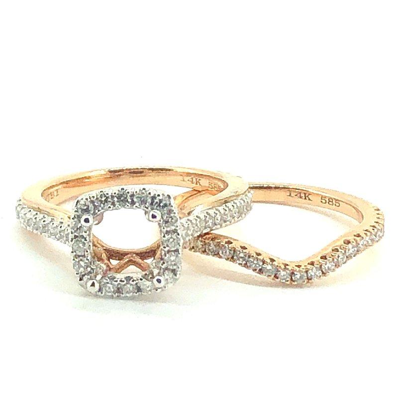 Decor Rose Gold Diamond Engagement Ring & Band