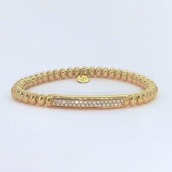 Yellow Gold Pave Diamond Bar Beaded Bracelet