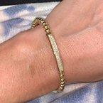 Hulchi Belluni Yellow Gold Pave Diamond Bar Beaded Bracelet