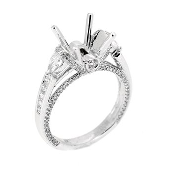 Ring Mounting with Pear Side Diamonds